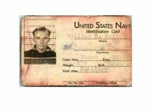 Vtg-WWII-U-S-NAVY-USN-PHOTO-Identification-Card-Named-Pearl-Harbor-Survivor