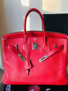 Hermes Birkin red bag with dustbag