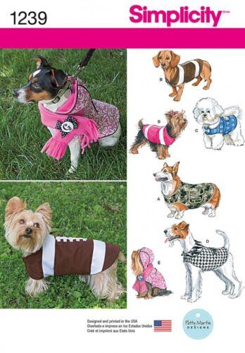 Patrón de costura simplicidad Mascotas fácil 1239 abrigos perro simplicidad - 1239-A