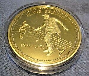 ELVIS PRESLEY Gold Coin King of Rock n Roll Pop Music Singer Legend Medallion US