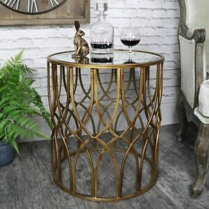 Antique-gold-round-metal-side-table-with-mirrored-top-vintage-chic-furniture
