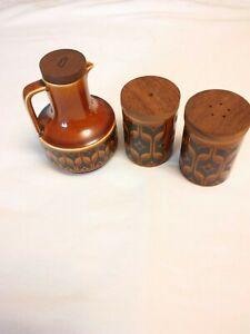 Vintage-HORNSEA-034-Heirloom-034-Set-of-Cruet-salt-and-pepper-England-RARE-Brown