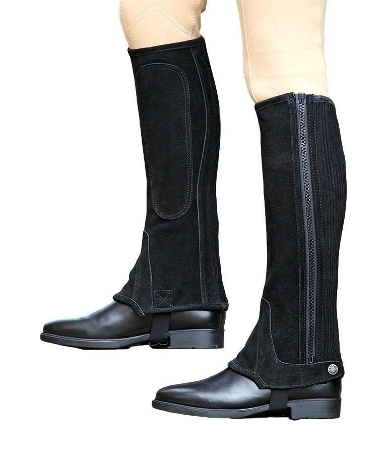 Shires Adult Suede Half Chaps with Ripple Elastic for a Better Fit