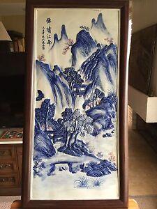 Vintage Large Chinese Porcelain Tile