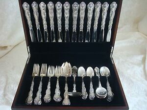 Strasbourg-by-Gorham-Sterling-Silver-Flatware-Place-Size-Set-Service-63-Pieces