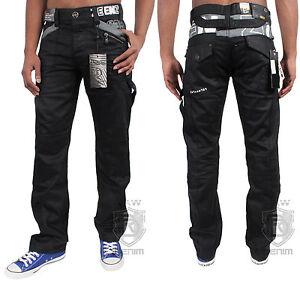 New-Mens-Enzo-Denim-Black-Jeans-Designer-Coated-Waist-Size-30-32-34-36-38-40-42