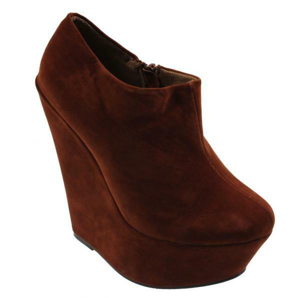NEW WOMENS LADIES BROWN FAUX SUEDE PLATFORM HEEL WEDGE ANKLE BOOTS SIZES UK3-8