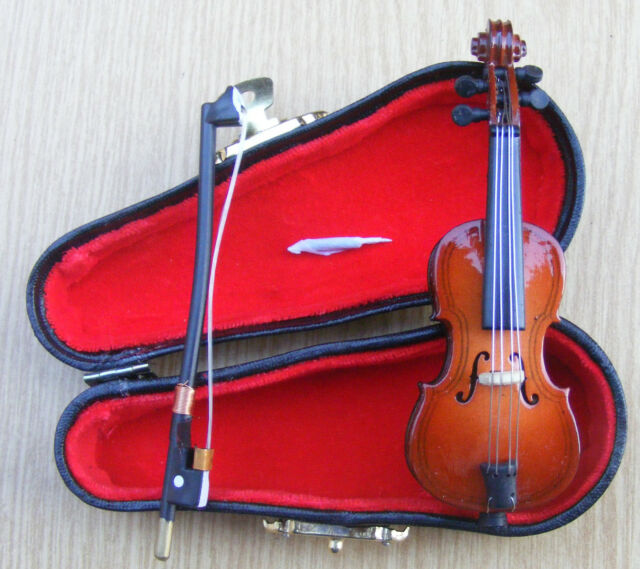 1:12 Scale Wooden Cello With End Pin & Black Case Tumdee Dolls House Accessory