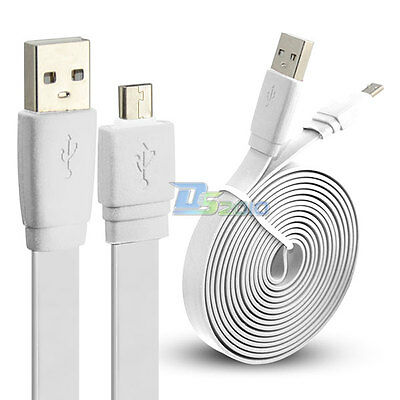 Premium 1m 2m Micro USB Flat Power Sync Cable Cord for Samsung Galaxy S4 White