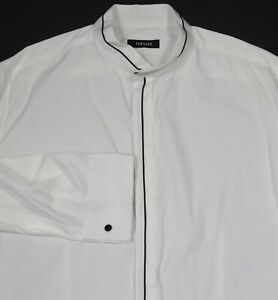 Versace-Mainline-White-Banded-Mandarin-Collar-Formal-Dress-Shirt-US-Large