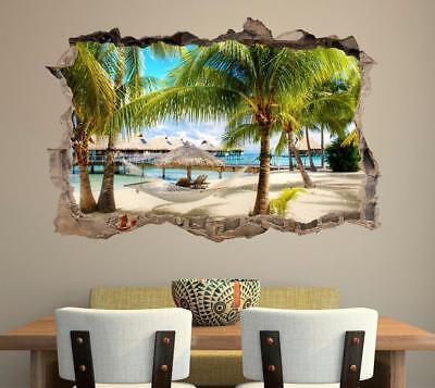 Tropical Beach Resort 3D Smashed Wall Sticker Decal Decor Art Mural Nature CO