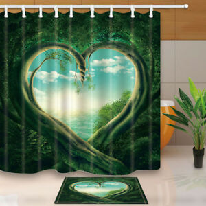 "Flower Tree Heart Nature Bathroom Shower Curtain Waterproof Fabric /& Hooks 71/"""