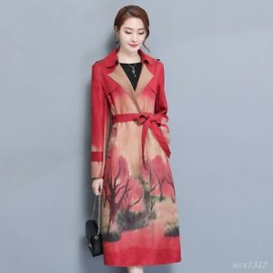Rétro Floral Vent Revers Veste Mode Long Style Femmes Col Ceinture Manteau Chinois JcFT1lK