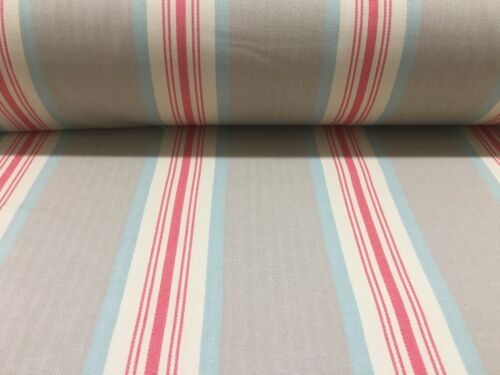 Brook Herringbone Woven Stripe Beige Grey //Coral Pink Curtain//Upholstery Fabric