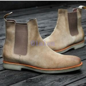 e221bbe07d Chelsea Real Leather Men's Suede Desert Army Retro Pull On Ankle ...