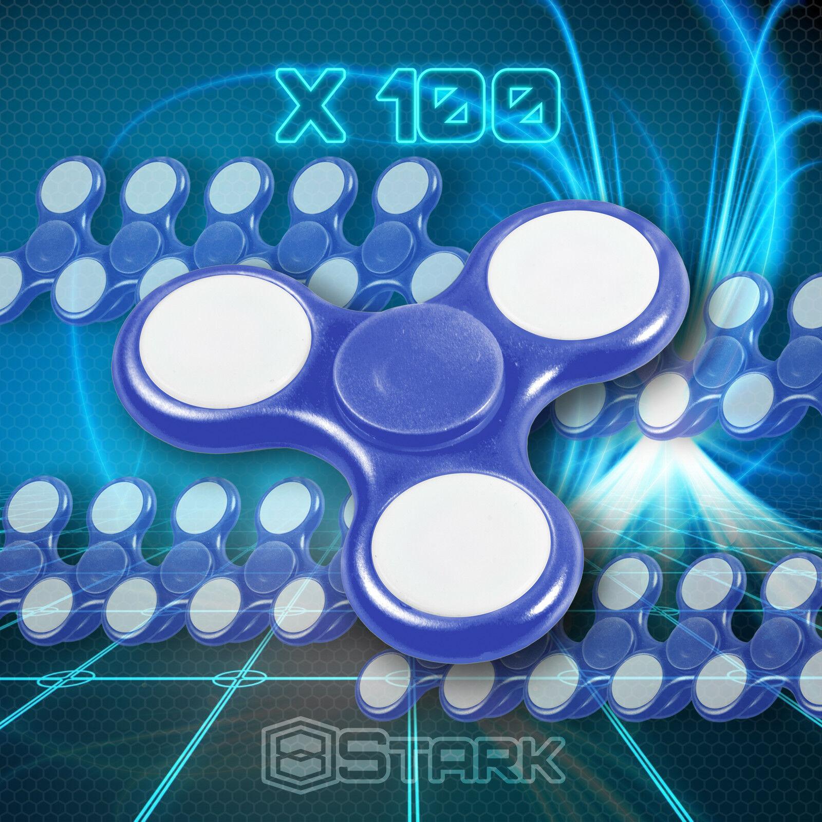 Blu LED Hand Spinner Tri Fidget Focus Desk Toy EDC ADHD Autism KIDS ADULT x100