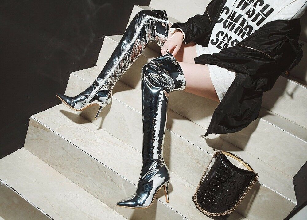 Women Over the Knee Knee Knee High Boots Shinny Heels Boots Silver shoes Woman Big Size 2485fc