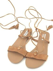 best website hot product look good shoes sale Steve Madden Tan Suede Lace Up Sandals Size 8   eBay