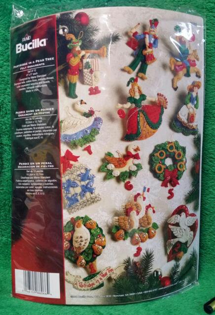 Twelve Days Of Christmas Felt Ornaments.Bucilla Felt Partridge In A Pear Tree Ornament Kit 12 Days Of Christmas 86006