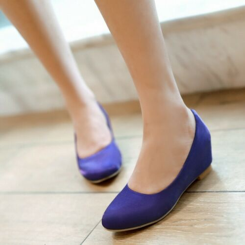 Womens Pumps Round Toe Hidden Wedge Heel Flats Mary Janes Dress Shoes Size 34-48