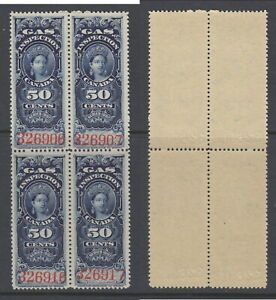 MNH 50 Cent Queen Victoria Gas Inspection Block of 4 #FG19 (Lot #RR118)