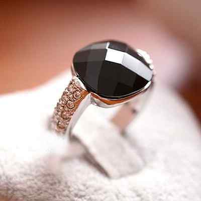 Fashion Retro Big Black Rhinestone Vintage Ring Jewelry crystal gemstone Womens