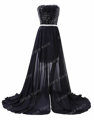 New Back Long Vintage Black Evening Dresses Women Bridesmaid Ball Gown Size 2-16