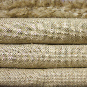 Heavy Linen Cotton Upholstery Antique Fabric Vintage Natural Oatmeal