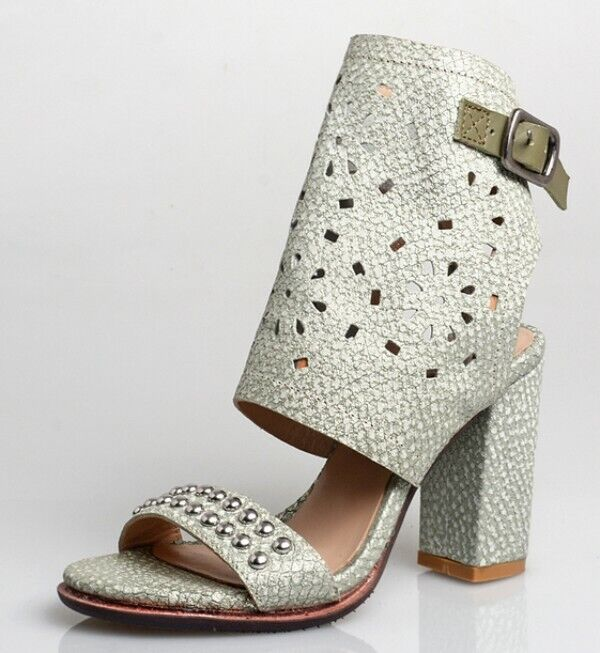 Womens High Block Heel shoes Slingbacks Sandals Buckle Strap Hollow Rivet Decor