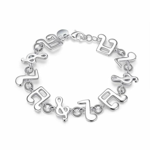 Fashion 925 Sterling Argent Massif Bijoux Musique Bracelet Pour Femmes H242
