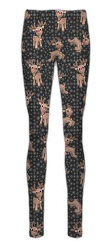 Womens Christmas Legging Ladies  Santa Reindeer Tartan Candy Stick Xmas Pants