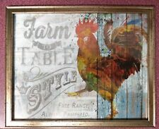 rooster country kitchen wooden wood wall art sign farm to table always fresh
