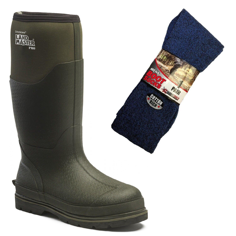 Dickies Landmaster Pro Non-Safety Wellington Boots Green & 1 Pair of Boot Socks