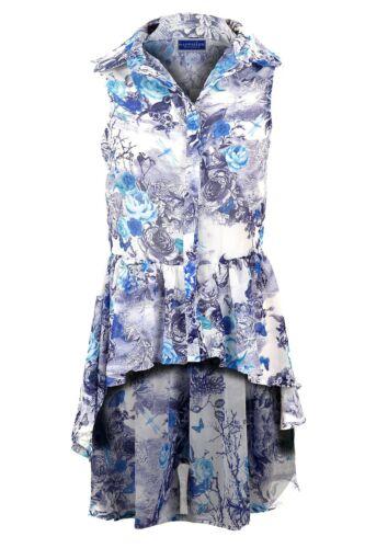 Ladies Chiffon Collared Rose Blouse Floral Fishtail Sleeveless Shirt Top 8-14