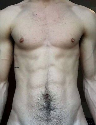 Shirtless Muscular Male Hairy Chest Abs Handsome Beefcake Guy PHOTO 4X6 F1398