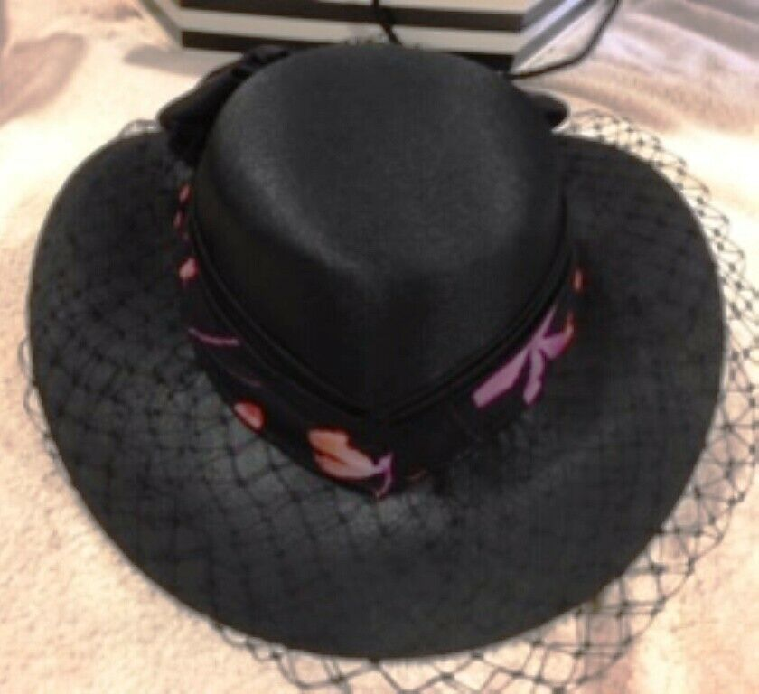 Formal womens hats - BLACK with bow & net and pink cir-band