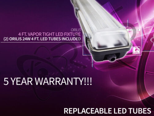 48w Water Sealed Lighting Fixture 2 4 Ft LED T8 Included 6500K IP65
