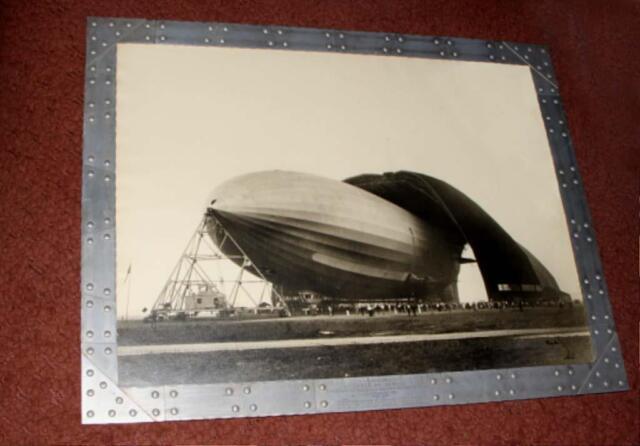 1931 Goodyear Akron Zeppelin race, garage sign ww2 Bourke-White photo OLD