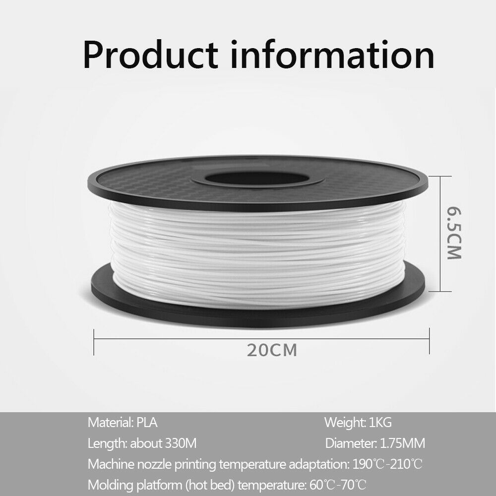 3D Printer Filament PLA/ PETG/ABS 1.75mm Accuracy +/- 0.02mm 2.2 LBS 1KG Spool