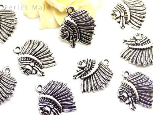 6 breloques indien couleur argent antique dimensions 22 x 18.5 x 2 mm