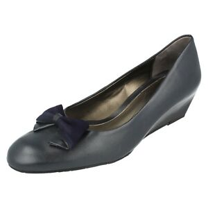 Details about Ladies Van Dal Leather Slip On Navy Wedge Shoes With Bow : Riom