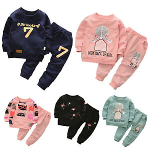 609eeaf1de62 2Pcs Kids Boys Girls Long Sleeve Casual Sweater Tops + Pants Outfits ...