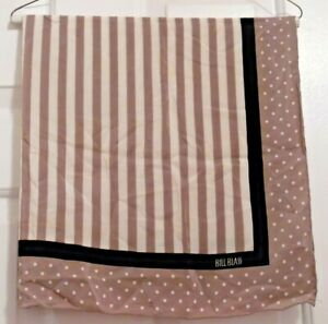 TERRIART-Beige-Stripes-and-Polka-Dots-with-Black-Trim-29-034-Sq-Scarf-Vintage-BLASS