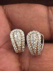 Pave-0-85-Cts-Runde-Brilliant-Cut-Diamanten-Creolen-In-Solides-18-Karat-Weissgold