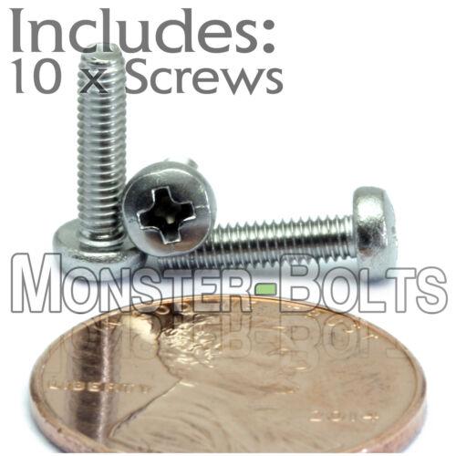 Qty 10 Stainless Steel Phillips Pan Head Machine Screws DIN 7985 M2.5 x 10mm