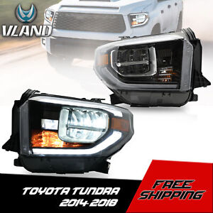 VLAND LED Headlights w/DRL Sequential Turn Signal for 2014-2020 Toyota Tundra