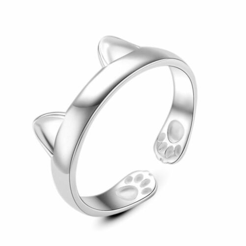 UK Cat Ear Lady Girl 925 SILVER Plate PLT ADJUSTABLE OPEN BAND THUMB RING
