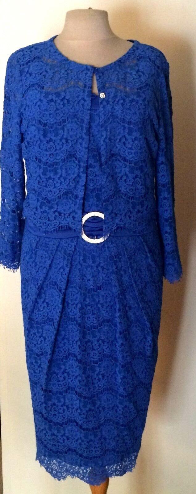 LUIS CIVIT MOTHER OF THE BRIDE COBALT BLUE LACE DRESS & JACKET SIZE 12