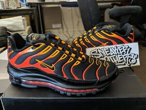innovative design 54593 233d3 Details about Nike Air Max 97 / Plus Black Engine 1 Shock Orange Rise  Bullet Shark AH8144-002