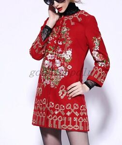 Chic-Womens-Wool-Blend-Coat-Floral-Embroidered-Long-Dress-Parka-Jackets-AU-S-4XL